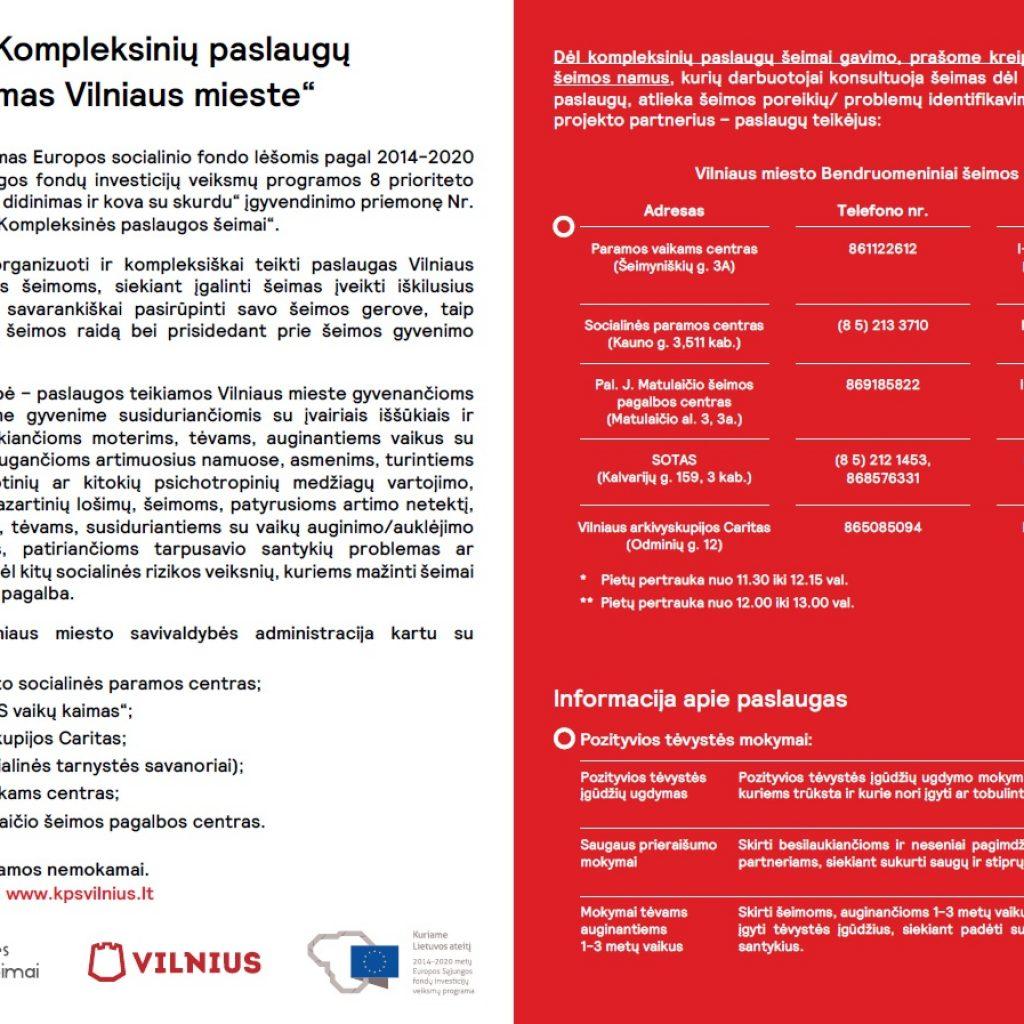 """Projektas """"Kompleksinių paslaugų šeimai teikimas Vilniaus mieste"""""""